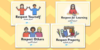 Respectful Behaviour Display Posters EAL Arabic Translation