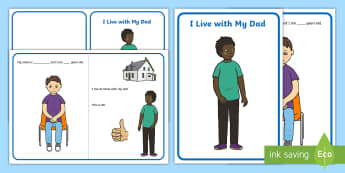 I Live with My Dad Social Story - single parent family, families, dad, mum, father, mother, divorce