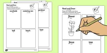 Garden Read and Draw Worksheets Arabic Translation - arabic, garden, read, draw, worksheet, outside, back garden