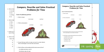 Compare, Solve and Describe Practical Problems for Time Activity Sheet - Learning from Home Maths Workbooks, time, estimate, measure, minutes, seconds, worksheet