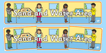 Sand and Water Area Display Banner - wet play, area, EYFS, early years, continuous provision