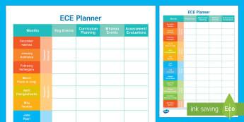 ECE Curriculum Planner 2017 Planning Template - English / Te Reo Maori - New Zealand Back to School, planning, curriculum.