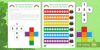 Race Across the Rainbow St. Patrick's Day Game - St. Patrick's Day, Math, One-to-One Correspondence, Color Recognition, Rainbow, Center Activity, Ce