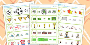 Football World Cup Size Matching Worksheets - football, world cup