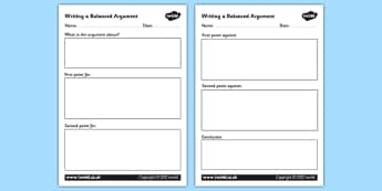 Balanced Argument Writing Frame - balanced argument, writing a balanced argument, balanced argument writing frame, balanced argument worksheets, arguments