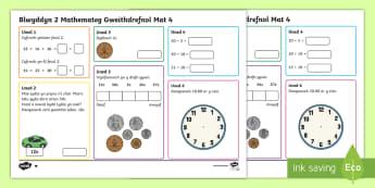 Blwyddyn 2 Mathemateg Gweithdrefnol Mat 4 - mathemateg. blwyddyn 2,Welsh