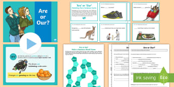 Are or Our? Activity Pack - English, grammar, homophones, spelling