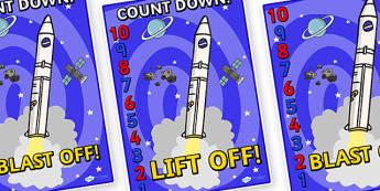 Space Rocket Countdown Display Posters 10-1 - display, posters, space rocket, space, in space, outer space, count down display, space countdown, count down, count down display posters, A4 posters, poster, classroom display posters