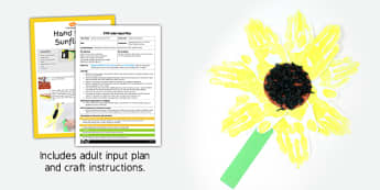 Handprint Sunflowers EYFS Adult Input Plan and Resource Pack - summer, plants, sunflower, lesson plan, activity,
