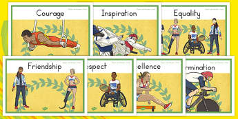 Olympics and Paralympics Values Display Posters - australia, olympics, rio, 2016, value, values, behaviour, aspiration, games, summer, display, posters