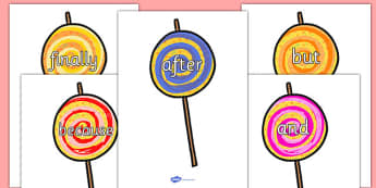 Connectives on Lollipops to Support Teaching on The Very Hungry Caterpillar - Connectives, VCOP, connective resources, connectives display words, connective displays