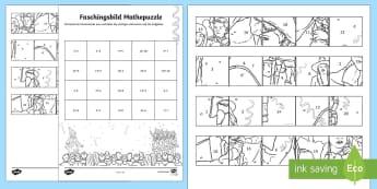 Plus und Minus bis 20 Faschingspuzzle Aktivität - Karneval, Fasching, Fastnacht, Puzzle, Mathepuzzle, Bildpuzzle, Anmalbilder, Plus und Minus, Rechnen