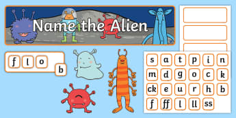 Phase 2 Phonics 'Name the Alien' Interactive Display Pack - Letters and sounds, literacy, phonics, phonemes, graphemes, rhyme, rhyming, , eyfa, pp, ppt
