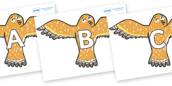 A-Z Alphabet on Owls - A-Z, A4, display, Alphabet frieze, Display letters, Letter posters, A-Z letters, Alphabet flashcards