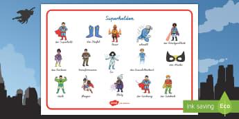 Superhelden Wortschatz: Querformat - Superhelden, Schreibhilfe, Lernhilfe, schreiben, Wortschat, Superkraft, Kostüm, Supermann,German
