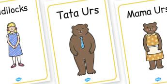 Goldilocks și cei trei urși - Cartonașe cu imagini și cuvinte - Goldilocks, cei trei urși, poveste, bucle de aur, pesonaje, cartonașe, imagini, romanian, materiale, materiale didactice, română, romana, material, material didactic