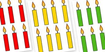 Editable Multicoloured Candles Plain - editable, image, editable image, plain candles, candles, candles for display, display images of candles, editable picture, editable display image, display, display picture