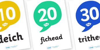 Scottish Gaelic Numbers Display Posters (in 10s) - Scottish Gaelic Number Display Posters, in 10s, 10s, number display, poster,gaelic, Gaelic, Scottish, Scotland, Gaels, Celtic, language, old, numbers, number, numeracy, Maths, Math, counting, display