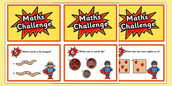 Reception Maths Challenge Cards - challenge cards, cards, reception, early years, early years maths challenge, numeracy, numeracy challenge, numeracy challenge cards, challenge game, superheroes, superheroes numeracy challenge