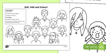 Emotions Roll and Colour Activity Sheet, worksheet