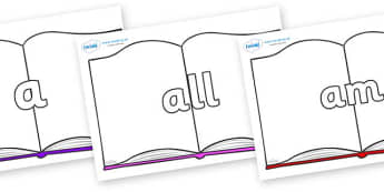 Foundation Stage 2 Keywords on Books - FS2, CLL, keywords, Communication language and literacy,  Display, Key words, high frequency words, foundation stage literacy, DfES Letters and Sounds, Letters and Sounds, spelling