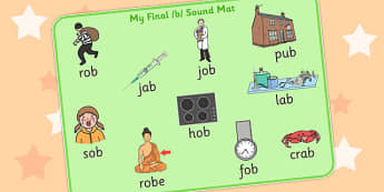 Final B Sound Word Mat 2 - final, b, sound, word mat, word, mat