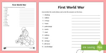 First World War Word Unscrambl - CfE Social Studies resources,  WW1, First World War, 1st World War, World War One, anagrams, scrambl