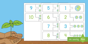 Earth Day 1 - 10 Self Correcting Number Puzzle - Earth Day, self-correcting puzzle, touch counting, number matching 1-10, number recognition 1-10, Pr