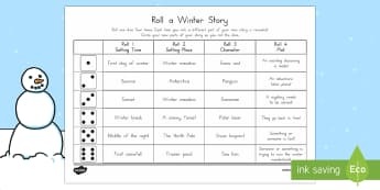 Roll a Winter Story Storyboard Template - Winter, writing, independent, story prompt, storyboard, dice, dice games, writing prompt, story idea
