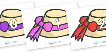 Numbers 0-100 on Summer Hats - 0-100, foundation stage numeracy, Number recognition, Number flashcards, counting, number frieze, Display numbers, number posters