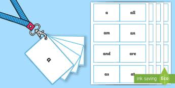 Lanyard Sized Kindergarten Sight Word Cards - phonics, vocabulary, language, reading, spelling, writing, recognise