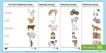 The Farm Aistear Animal Matching Activity Sheet - Aistear, Infants, English Oral Language, The Farm, Activity Sheet, Matching Exercise, worksheet, Far