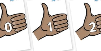 Numbers 0-100 on Thumbs Up - 0-100, foundation stage numeracy, Number recognition, Number flashcards, counting, number frieze, Display numbers, number posters
