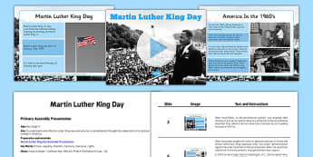 Martin Luther King Day Assembly Presentation and Script - martin luther king, day, assembly, script, powerpoint