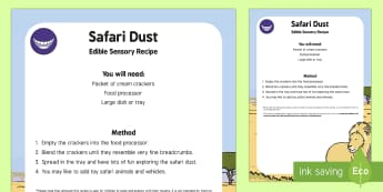 Safari Dust Edible Sensory Recipe - Safari, edible, exploration, sensory, baby safe, taste safe, africa
