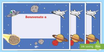 Benvenuti nella nuova classe spaziale Poster - spazio, poster, benvenuti, nuova, classe, nuovo, anno, prima, italiano, italiano, materiale, scolast