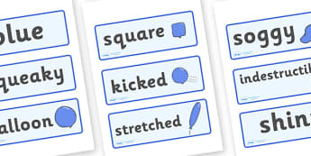 Word Cards to Support Teaching on The Blue Balloon - blue balloon, story, the blue balloon, Mick Inkpen, word card, flashcards, cards. flying balloon, soggy balloon, up, story book, story resources