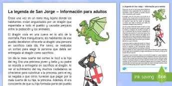 La leyenda de San Jorge y el dragón Hoja informativa - San Jorge, sant jordi, leyenda, leyendas, cuentos, cuentos tradicionales, Saint george spanish, jorg