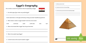 Egypt's Geography Map Work Activity Sheet - World Around Us KS2 - Northern Ireland, Egypt, map, atlas, countries, climate, geography, using ICT,