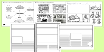 The Titanic Newspaper Writing Frames - the titanic newspaper writing frames, titanic, newspaper, writing frames, the titanic, ship, writing template, writing frames, word cards, flashcards, template