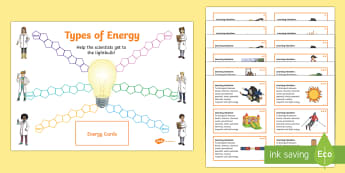 Differentiated Types of Energy Board Game - Science board games, energy board game, kinetic energy, thermal energy, chemical energy, sound energ