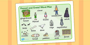 Hansel and Gretel Word Mat (Images) - Hansel and Gretel, Brothers Grimm, witch, Hansel, Gretel, gingerbread house, fairytale, traditional tale, woodcutter, forest, story, story sequencing, story resources, word mat, writing aid