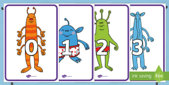 Numbers 0 to 20 on Aliens Display Posters - EYFS, Early Years, Aliens Love Underpants, Claire Freedman, space, aliens, Maths, sequencing numbers