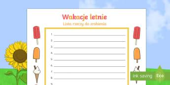 Szablon Wakacje letnie Lista rzeczy do zrobienia - lato, czerwiec, pisanie, pisania, zadanie, domowe, plaża,Polish