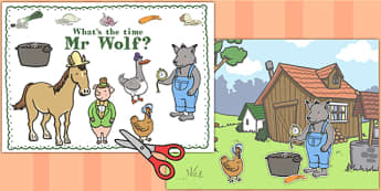Story Cut Outs to Support Teaching on What's The Time, Mr Wolf? - mr wolf, time, cut outs