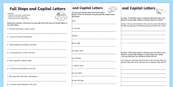 Capital Letters and Full Stops with Phase 4 Words Activity Sheet - capital letters, full stops, activity, worksheet
