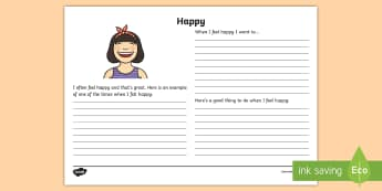 Feeling Happy Reflection Writing Template - feelings, emotions, S.P.H.E., reflection, writing template, activity sheet, actions, consequences, h