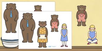 Goldilocks and the Three Bears Stick Puppets - Goldilocks, stick puppet, traditional tales, tale, fairy tale, three bears, porridge, cottage, beds