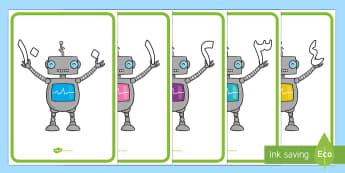 ملصقات الرجل الآلي لمكونات العدد 10 - حساب، رياضيات، مكونات العدد، مكونات الأعداد، عربي، أر