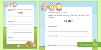 Easter Sensory Poem Activity Sheet - Easter Sunday, Lent, senses, poem, poetry,Irish